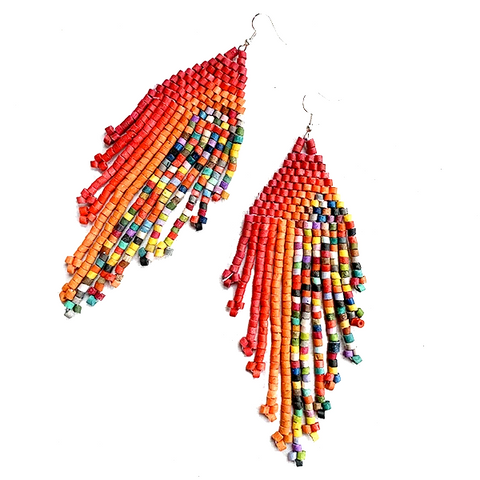 Red & Orange Rainbow Multi Color Beaded Fringe Earrings - 5 1/2""