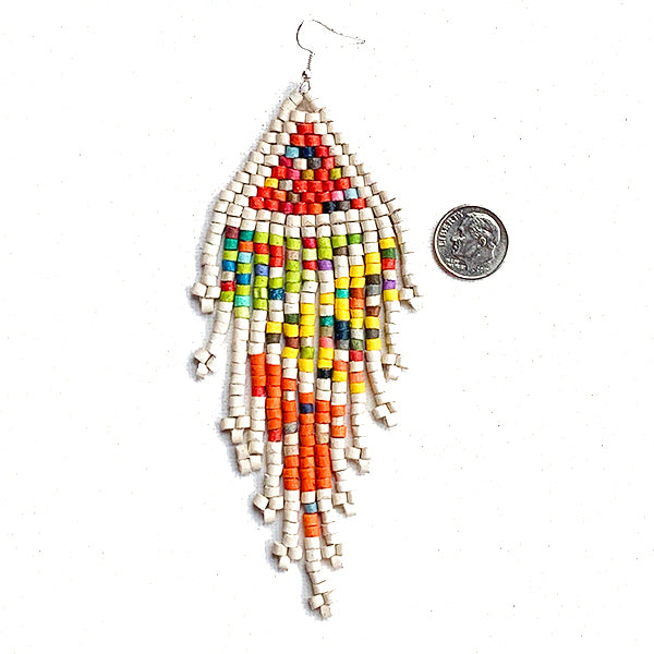 White Rainbow Pattern Beaded 13 Fringe Earrings - 5 ""