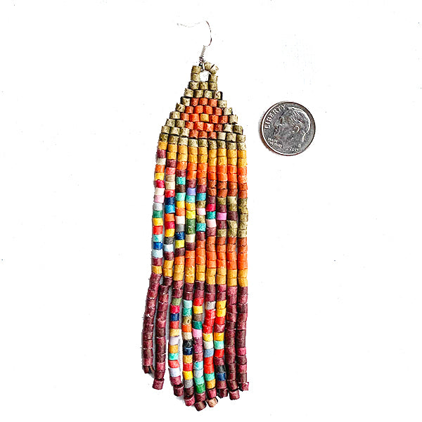 Tan, Burnt Orange & Burgundy Rainbow Beaded Fringe Earrings