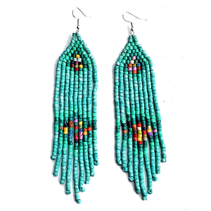 Turquoise & Rainbow Beaded 9 Fringe Earrings - 5""
