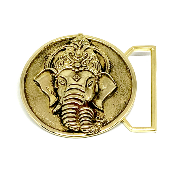Ganesha Belt Buckle Cast in Yellow Brass by 100mics