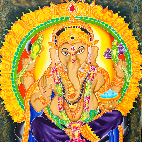 Ganesha Batik Tapestry with Green & Brown Background - 4x6 Feet!