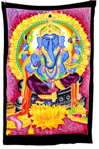 Ganesha Batik Tapestry with Pink Background - 4x6 Feet!