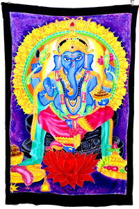 Ganesha Batik Tapestry with Purple Background - 4x6 Feet!