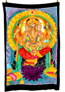 Ganesha Batik Tapestry with Aqua & Purple Background - 4x6 Feet!