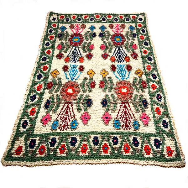 Sage Green Handwoven High Pile Wool Rug from Guatemala - 5 x 7 Feet