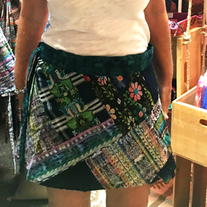Green Tone Vintage Huipil and Corte Fabric Patchwork Wrap Mini Skirt