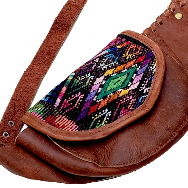 Mahogany Brown Leather Double Hip Pouch with Vintage Colorful Huipil Textile & Jade Stone