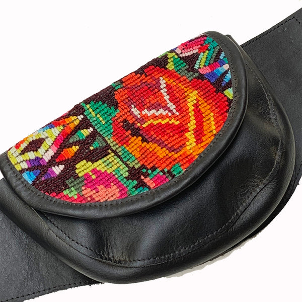 Black Leather Double Hip Pouch with Vintage Floral Huipil Textile & Jade Stone