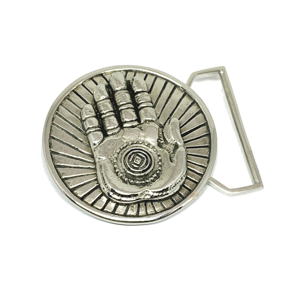 Hamsa Hand Belt Buckle Cast in White Brass by 100mics