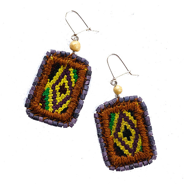 Green & Purple Vintage Huipil & Purple Ceramic Bead Earrings