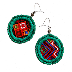 Red Patterned Vintage Huipil &  Green Ceramic Bead Earrings
