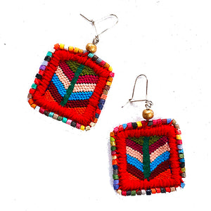 Colorful Vintage Huipil & Multi Color Ceramic Bead Earrings