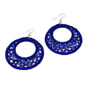 Cobalt Macrame Hoop Earrings
