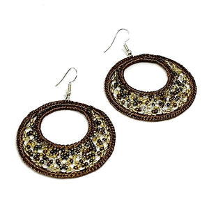 Brown Beaded Macrame Hoop Earrings