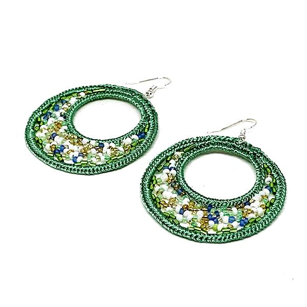 Green Beaded Macrame Hoop Earrings