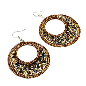 Light Brown Macrame Hoop Earrings