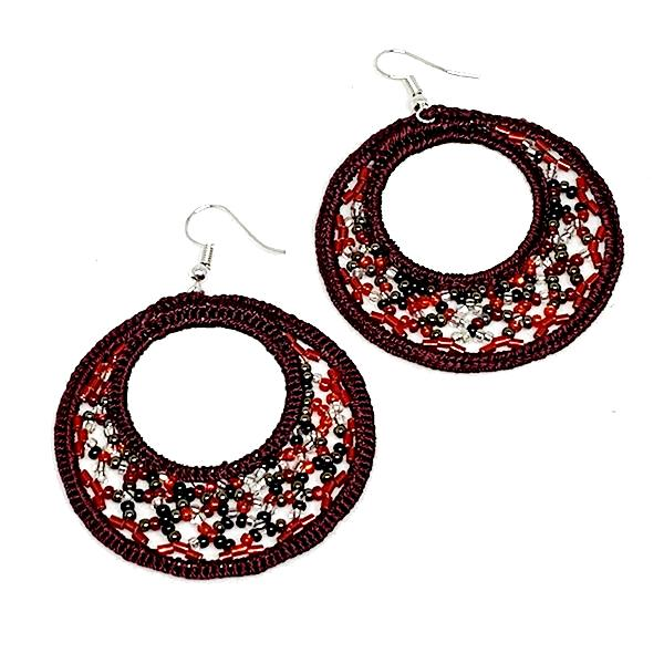 Red Beaded Macrame Hoop Earrings