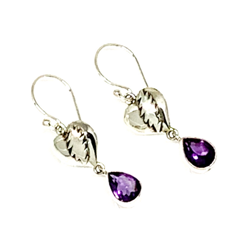NFA Heart & Bolt Earrings Cast In Sterling Silver with Faceted Amethyst Stone Drops