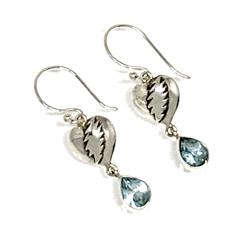 NFA Heart & Bolt Earrings Cast In Sterling Silver with Faceted Blue Topaz Stone Drops