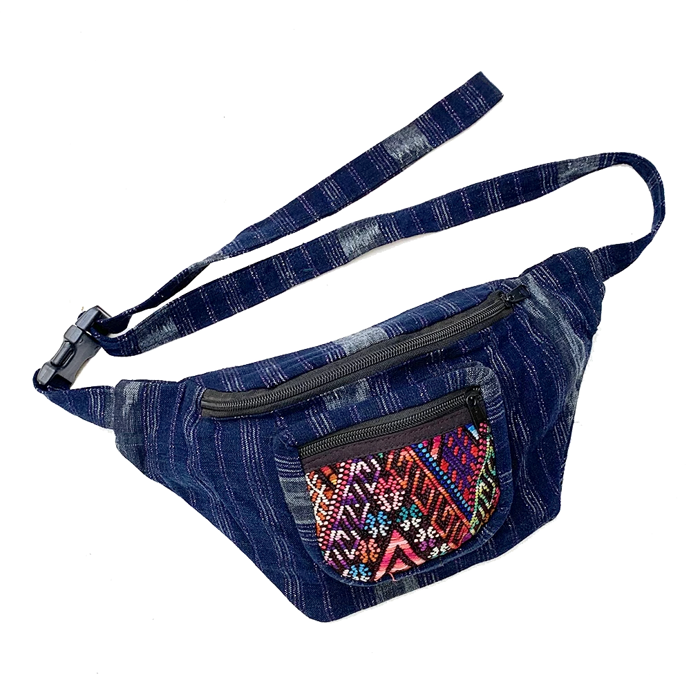 Indigo Fabric with Sparkly Thread & Vintage Patterned Huipil Fabric Fanny Pack #1