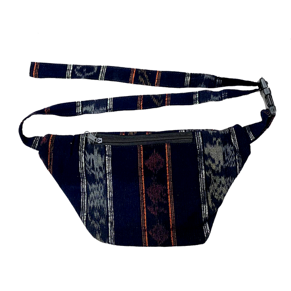 Indigo Fabric with Embroidery, Sparkly Thread & Vintage Patterned Huipil Fabric Fanny Pack #10
