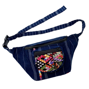 Indigo Fabric with Embroidery & Vintage Patterned Huipil Fabric Fanny Pack #2
