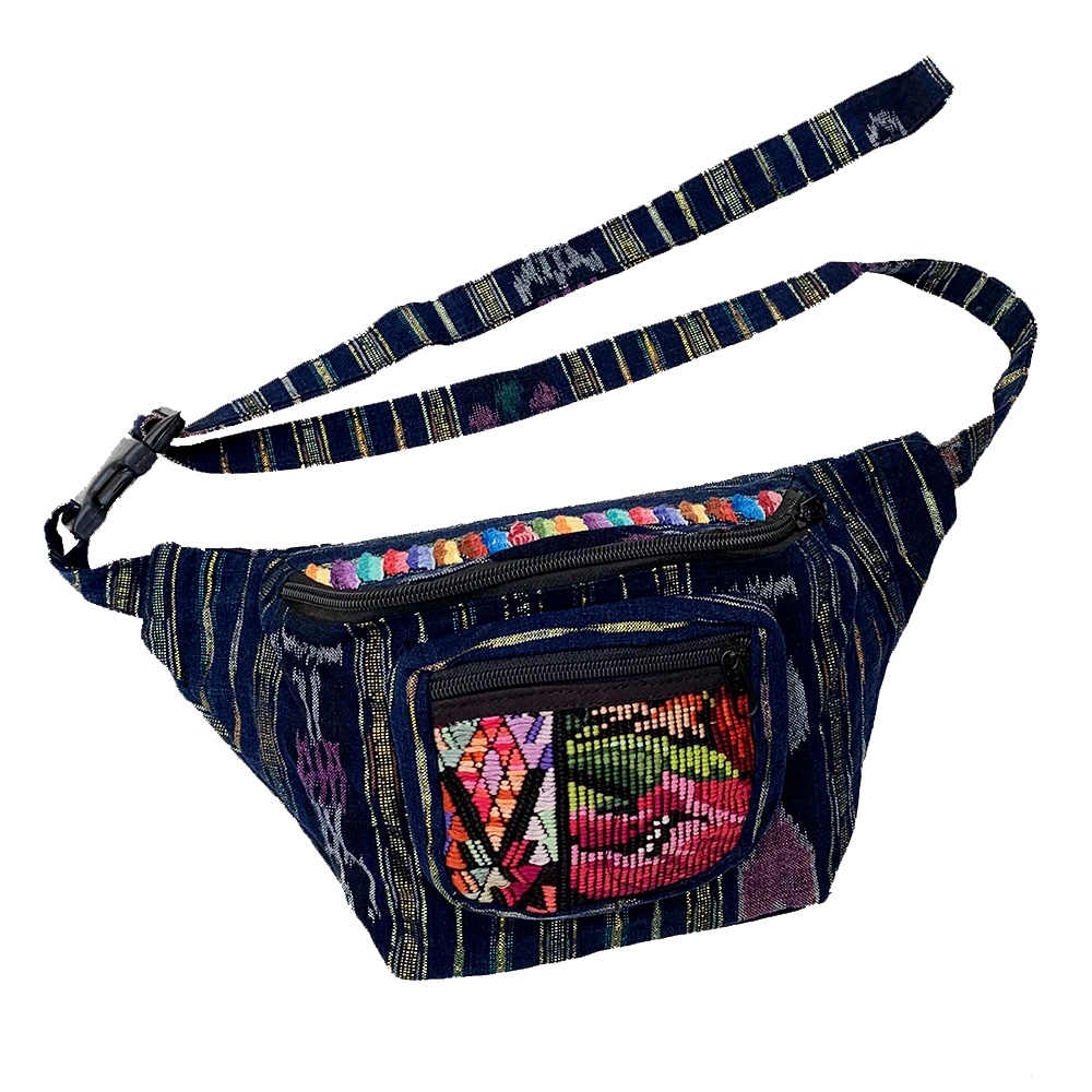 Indigo Fabric with Embroidery, Sparkly Thread & Vintage Patterned Huipil Fabric Fanny Pack #3