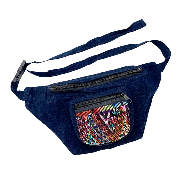 Indigo Fabric with Vintage Patterned Huipil Fabric Fanny Pack #4