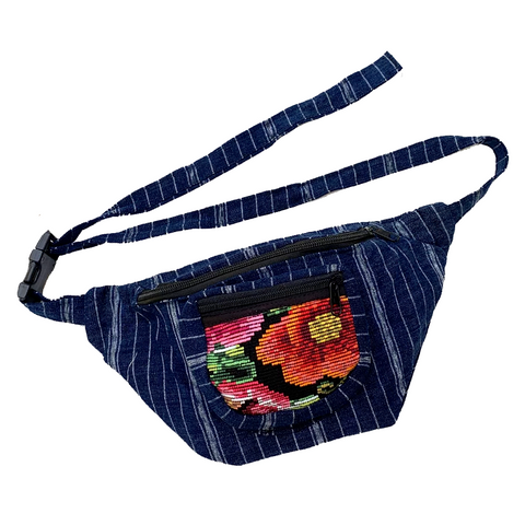 Indigo Fabric with Vintage Flower Patterned Huipil Fabric Fanny Pack #7