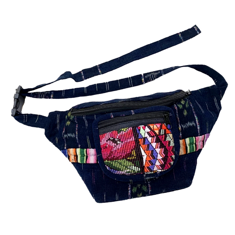 Indigo Fabric with Embroidery, Sparkly Thread & Vintage Patterned Huipil Fabric Fanny Pack #8