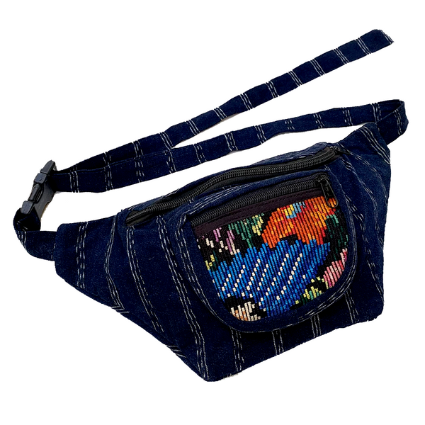 Indigo Fabric with Vintage Flower Patterned Huipil Fabric Fanny Pack #9
