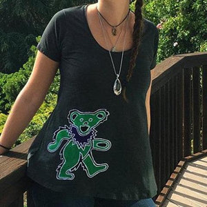 GD Inspired Batik Green Bear on Gray Woman's Swing Tee