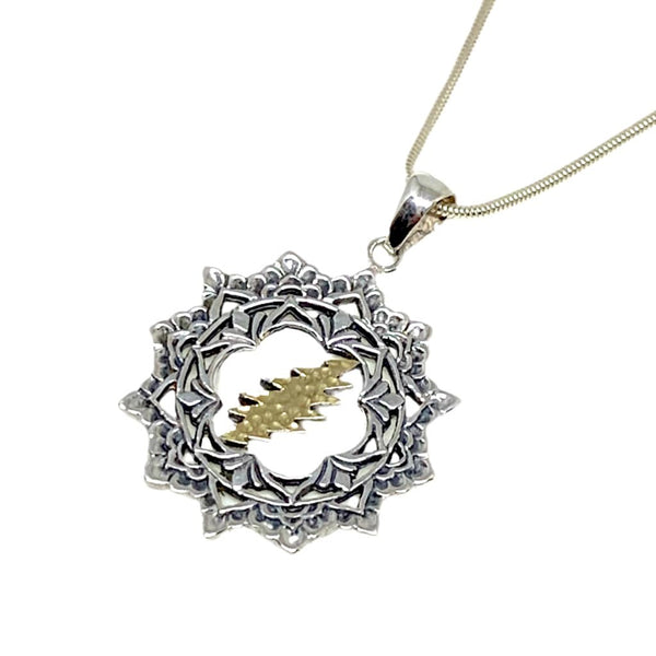 The Lotus & Bolt Pendant Cast in Sterling Silver with 18K Gold Bolt