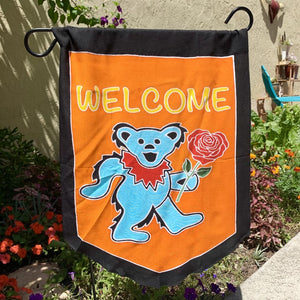 Welcome Bear Batik Garden Flags!