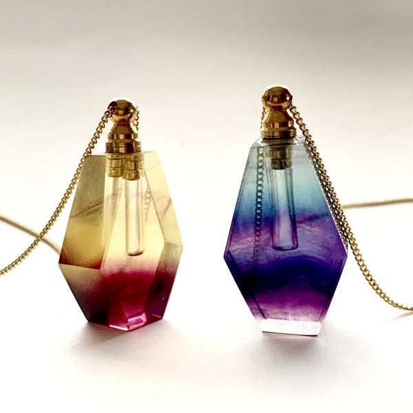 Tear Drop Yellow & Purple Fluorite Crystal Essential Oil Bottle Necklace