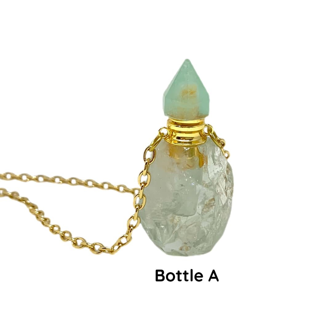 Natural Light Green Fluorite Crystal Essential Oil Bottle Necklace