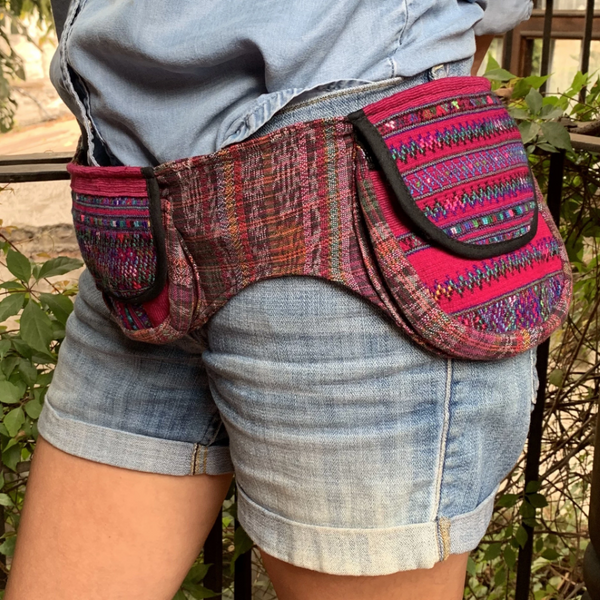 Handmade Triple Pocket Fanny Pack with Vintage Red Hupil Fabric