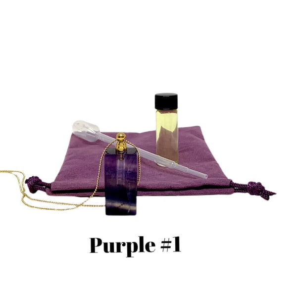 Rectangle Yellow & Purple Fluorite Crystal Essential Oil Bottle Necklace