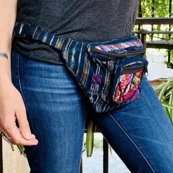 Indigo Fabric with Embroidery, Sparkly Thread & Vintage Patterned Huipil Fabric Fanny Pack #5