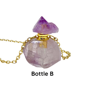 Natural Amethyst Crystal Essential Oil Bottle Necklace