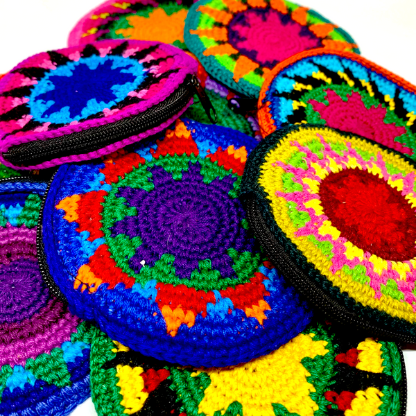 Handmade Crocheted Colorful Round Coin/Treasure Pouch