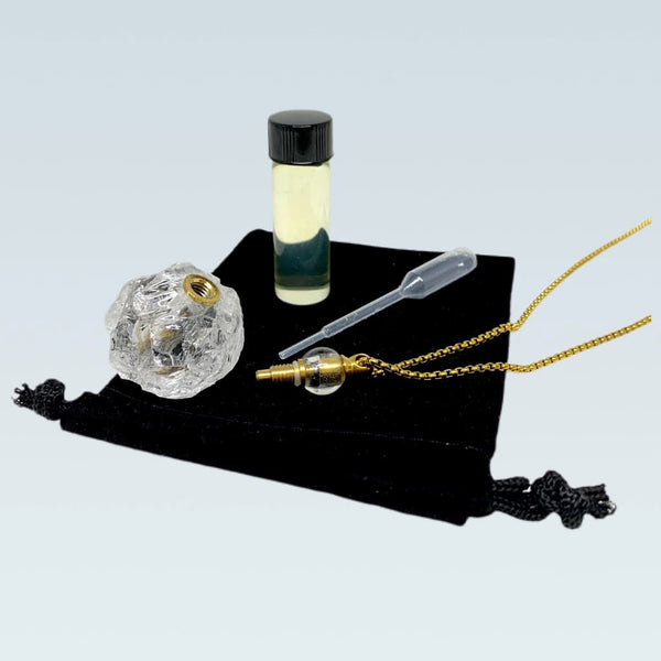 Round Raw Quartz Crystal Essential Oil Bottle Necklace
