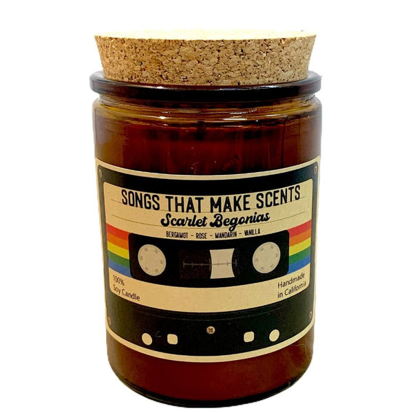 Scarlet Begonias Scented Soy Candle in Amber Glass by Songs That Make Scents