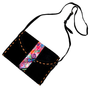 Colorful Vintage Huipil & Black Suede Shoulder Bag