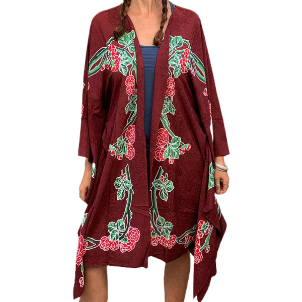 "GD Inspired ""Kiss"" Kimono with Batik Roses and Bolt in Burgundy"