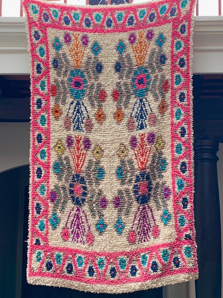 Pink Handwoven High Pile Wool Rug from Guatemala - 5 x 7 Feet
