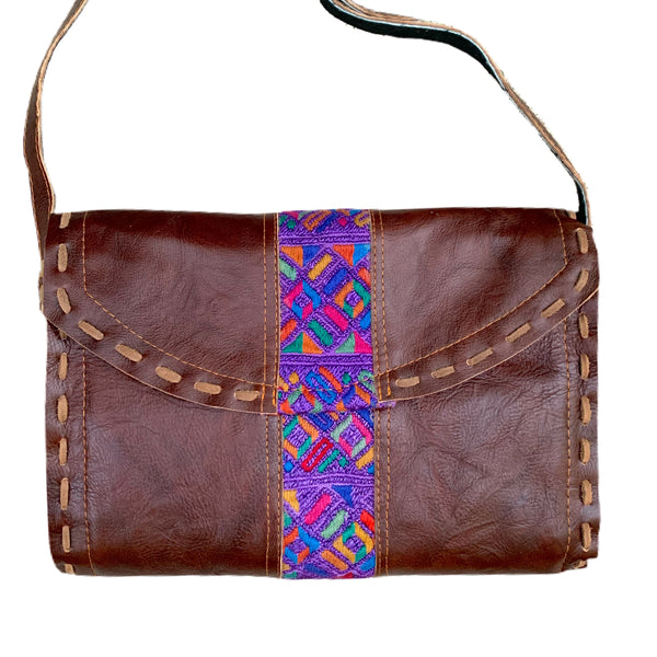 Colorful Purple Vintage Huipil & Dark Brown Leather Shoulder Bag