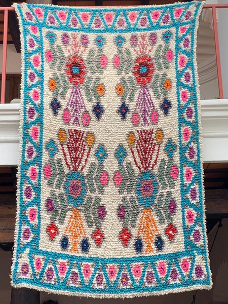 Turquoise Handwoven High Pile Wool Rug from Guatemala - 5 x 7 Feet