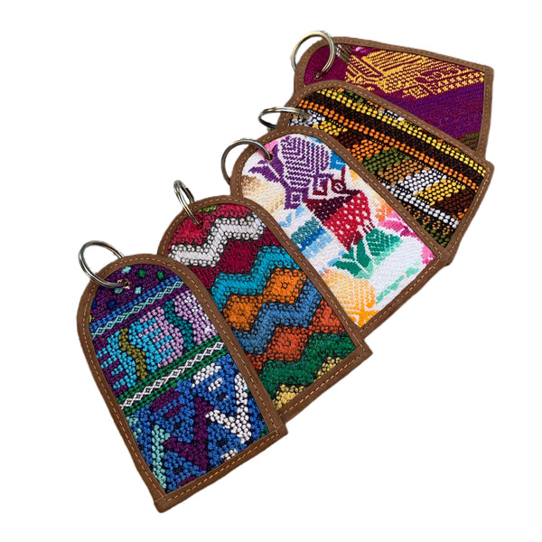 Handmade Colorful Vintage Huipil Fabric & Leather Luggage Tags